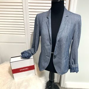 Blue and white Denim style Blazer suit jacket